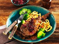 Leg of Hare with Spaetzle and Lingonberries recipe