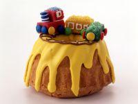 Lemon Bundt Cake with Marzipan Train