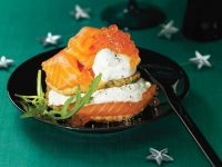 Lentil Pancakes with Salmon and Yoghurt recipe