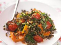 Lentil-Pumpkin Salad with Tomatoes and Spinach recipe