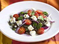 Lentil Salad with Cherry Tomatoes, Red Onion and Feta recipe