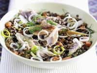 Bowl of Lentils with Flaked Fish and Leek recipe