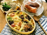 Lentil-sausage Gratin with Potatoes and Fennel recipe