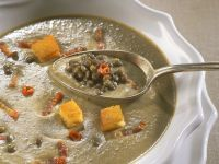 Lentil Soup with Bacon and Croutons recipe
