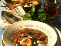 Lentil Soup with Bacon and Dried Fruit recipe