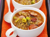 Lentils and Celery Stew with Sausage recipe