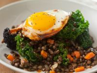 Lentils with Kale and Fried Egg recipe
