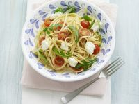 Linguine with Tomato, Arugula and Goat Cheese recipe