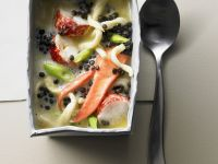Lobster Soup with Black Lentils and Noodles recipe