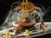 Lobster with Green Beans, Foie Gras and Potato Cakes recipe