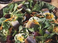 Mache and Herring Salad with Beets and Carrots recipe