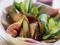 Mache, Duck Liver, Fig and Rhubarb Salad recipe
