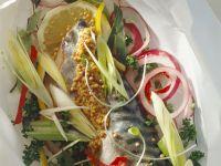 Mackerel with Mustard and Veggies recipe