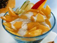 Mango and Papaya Salad with Sour Cream Dressing recipe