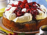 Marble Cake with Whipped Cream and Cherries recipe