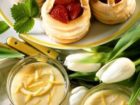 Marzipan Strawberry Baskets and Lemon Cream