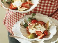 Mascarpone and Quark Cream with Strawberries and Biscotti recipe