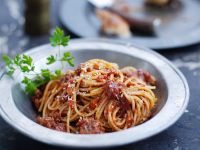 Meat Sauce with Spaghetti and Parsley recipe
