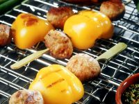 Meatball and Grilled Pepper Skewers recipe