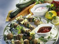 Meatball and Zucchini Skewers with Onion Dip and Currant Sauce recipe