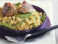 Meatballs with Couscous with Potatoes and Snow Peas recipe