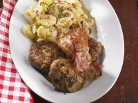 Meatballs with Mushrooms, Bacon and Potato Salad recipe