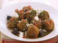 Meatballs with Olives and Feta Cheese recipe