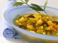 Mediterranean Potato Soup with Olives and Zucchini recipe