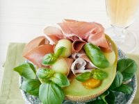 Melon with Prosciutto, Basil and Fruit Puree recipe