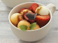 Melons and Strawberry Salad with Balsamic Dressing