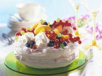 Meringue Torte with Raspberry Cream and Fruit recipe