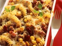 Mexican Corn, Bean and Pasta Gratin recipe
