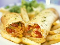 Mexican Wraps with Homemade Tortillas and Fries recipe