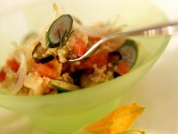 Millet Rsotto with Eggplant and Zucchini recipe