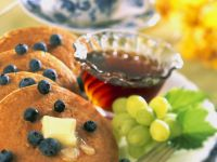 Mini Blueberry and Grape Pancakes recipe