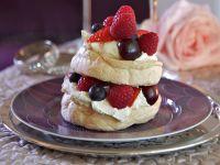 Mini Meringue Cakes with Berries and Whipped Cream recipe