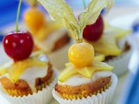 Mini Muffins with Orange Glaze and Fruit recipe