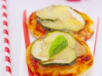 Mini Pizzas with Zucchini and Basil recipe