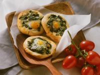 Mini Spinach and Quail Egg Pizzas recipe