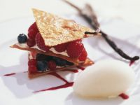 Mixed Berry Stacks with Champagne Sorbet recipe