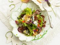 Mixed Green Salad with Blue Cheese, Walnuts and Edible Flowers recipe