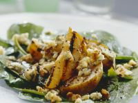 Mixed Green Salad With Grilled Pears and Stilton Cheese recipe