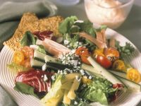 Mixed Green Salad with Ham, Cheese and Yogurt Dressing recipe