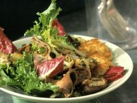 Mixed Green Salad with Mushrooms and Potato Pancakes recipe