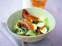 Mixed Greens with Quail Eggs, Green Beans and Bresaola recipe