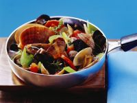Mixed Mussels with Vegetables and White Wine Sauce recipe