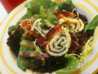 Mixed Salad with Bacon and Rolled Crepes recipe