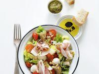 Mixed Salad with Mozzarella and Ham recipe
