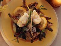 Monkfish Steaks on Artichoke Rice recipe