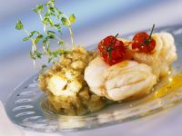 Monkfish with Eggplant Puree and Braised Tomatoes recipe